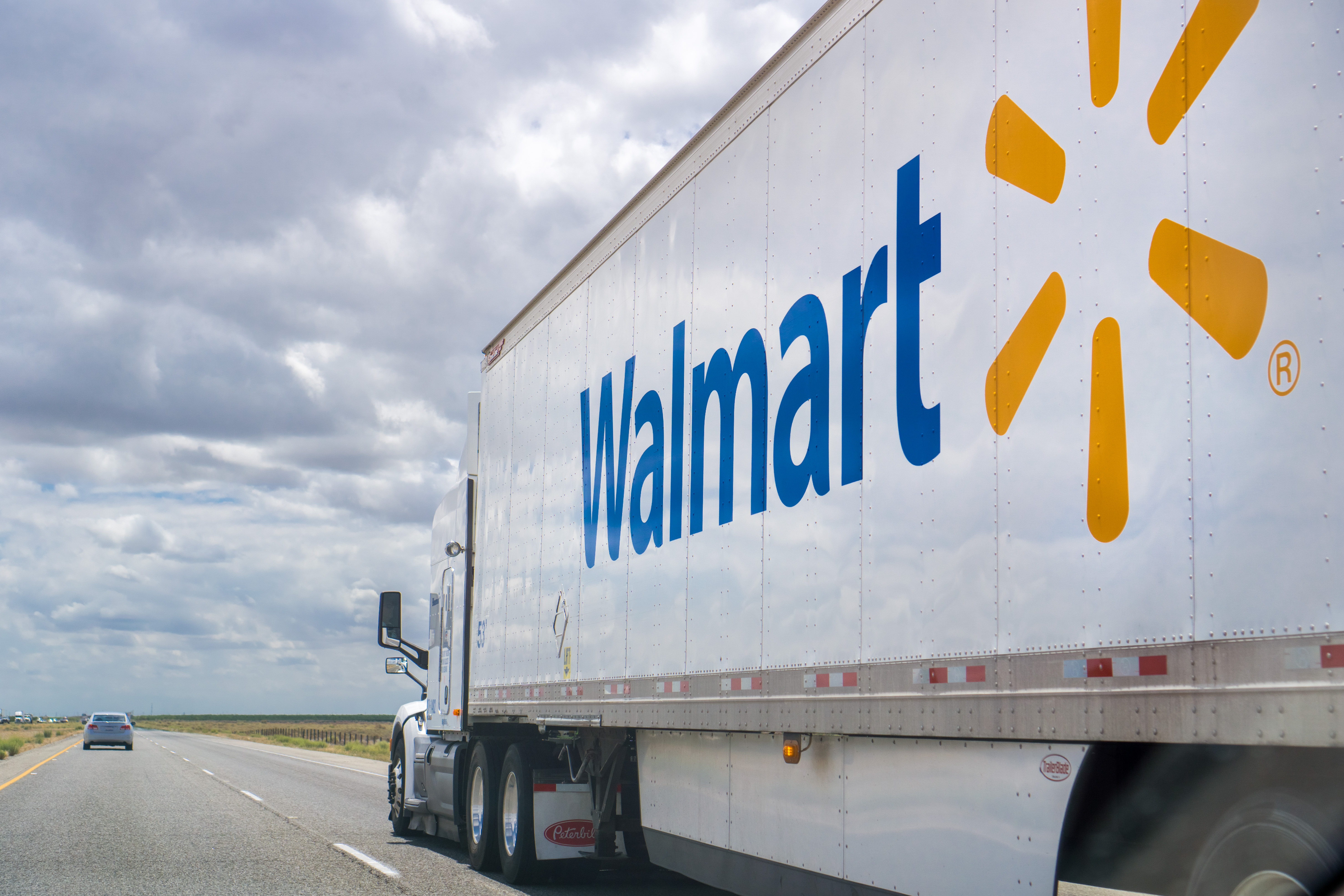 May 25, 2018 Bakersfield / CA / USA - Walmart truck driving on the interstate on a cloudy day