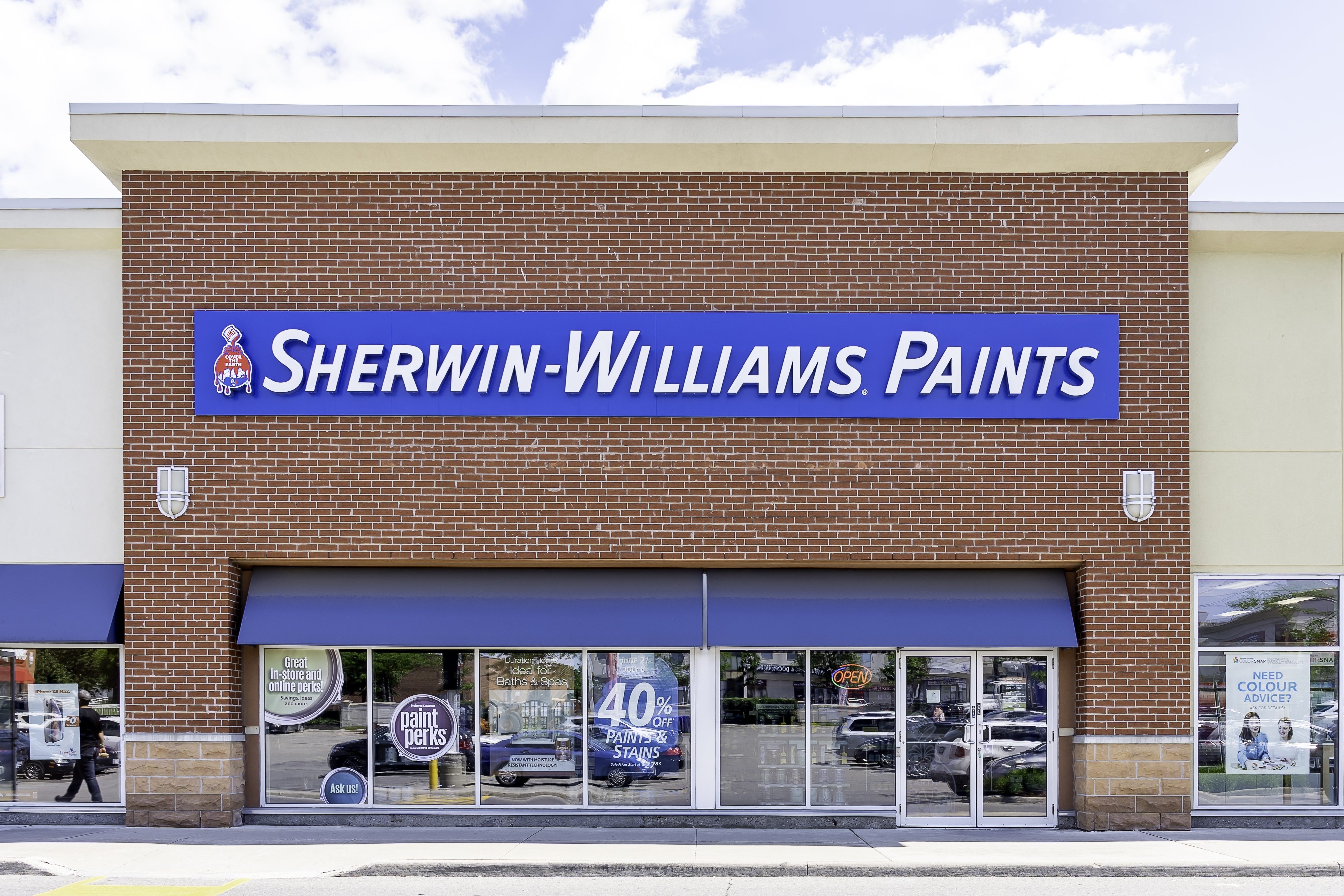 Toronto, Canada - June 22, 2019: Sherwin-Williams Paint Store storefront in Toronto. Sherwin-Williams is an American company that produces paint.