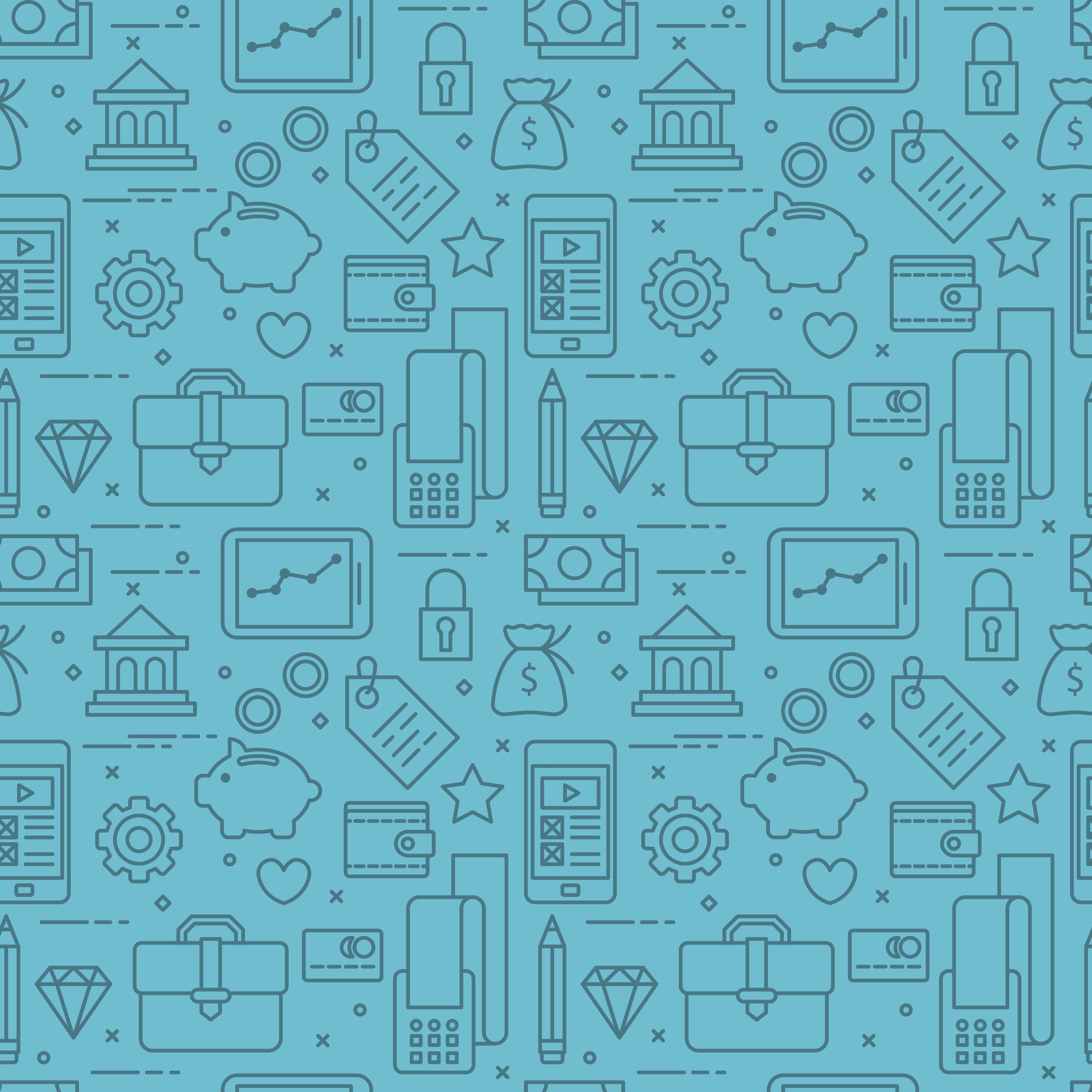 Modern thin line icons seamless pattern for banking web graphics and design. Vector illustration