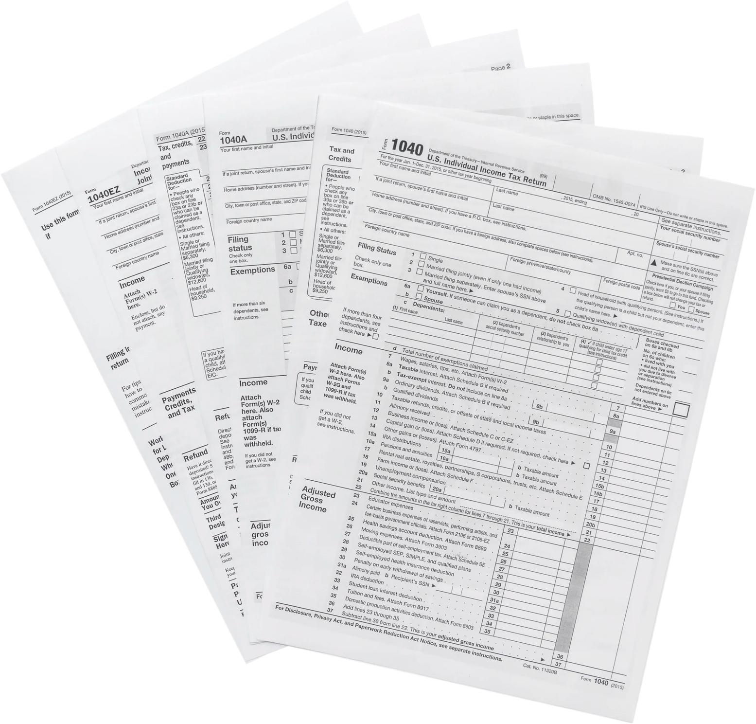 Tax forms isolated on white