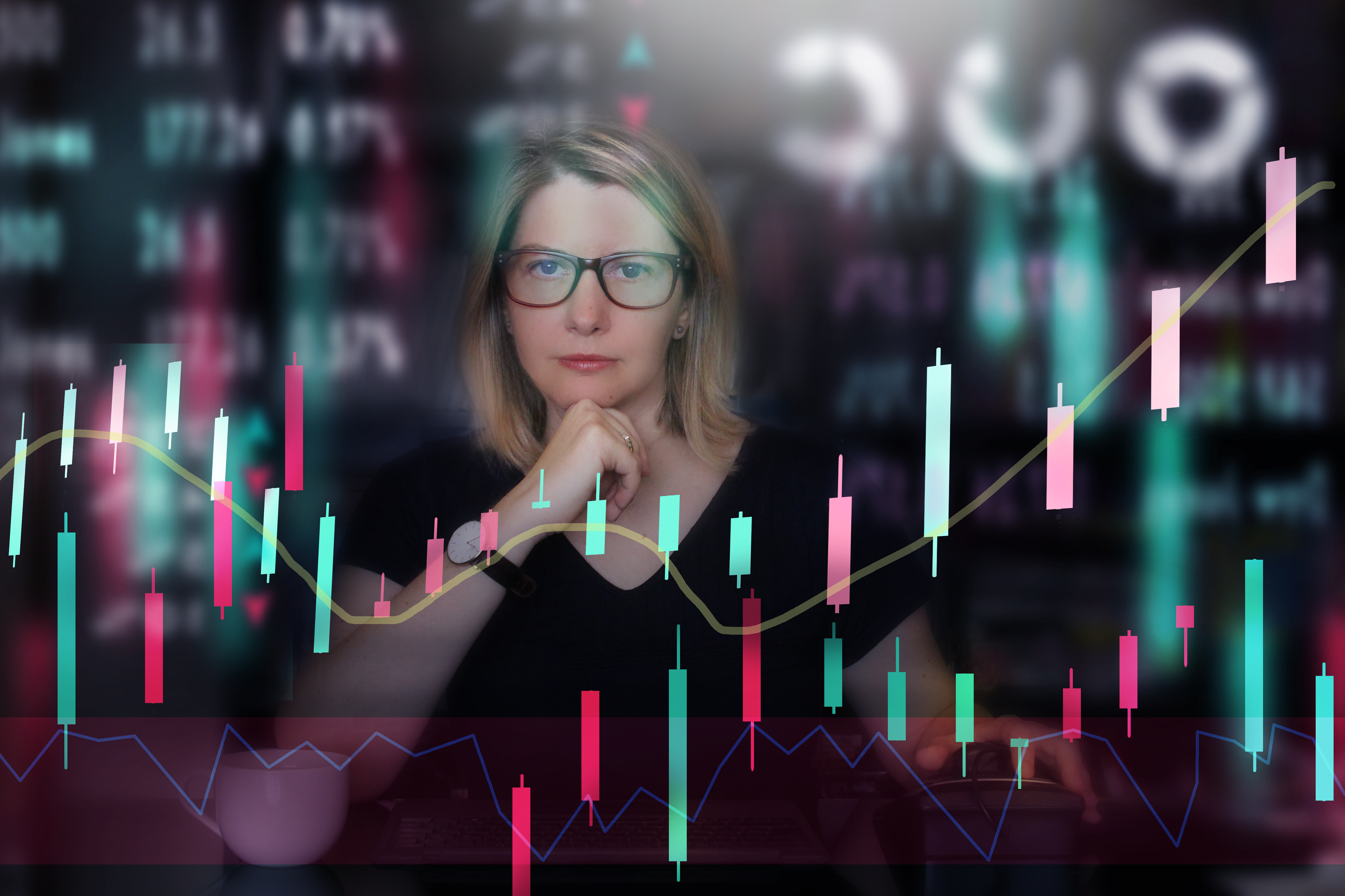 Woman investing in stock market. Multiple exposition