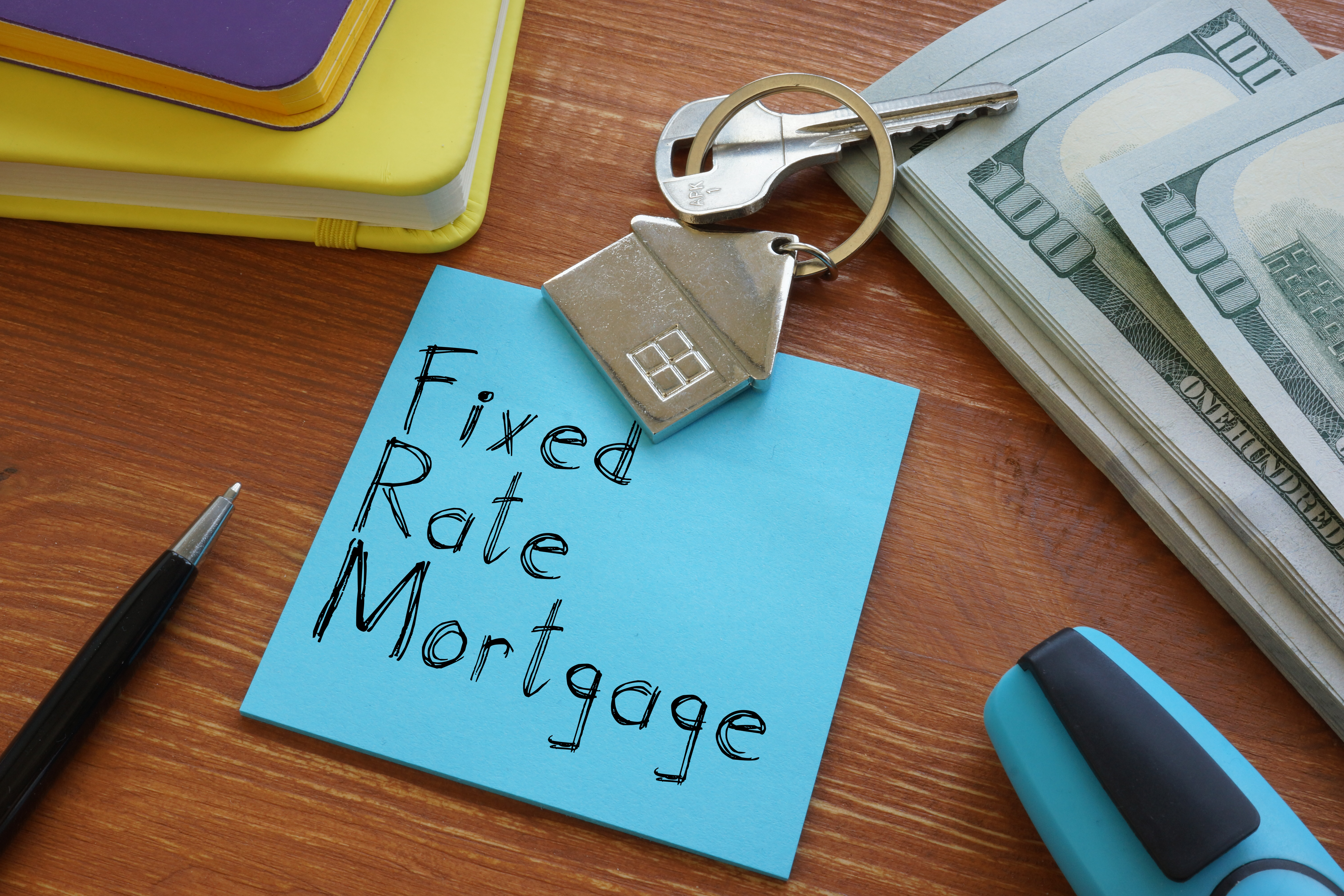 Fixed rate mortgage is shown on the conceptual business photo