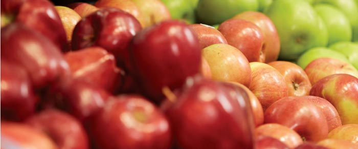 Fresh apples, red, green, red-yellow