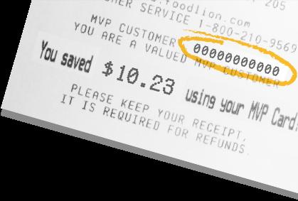 Food Lion grocery receipt showing MVP savings