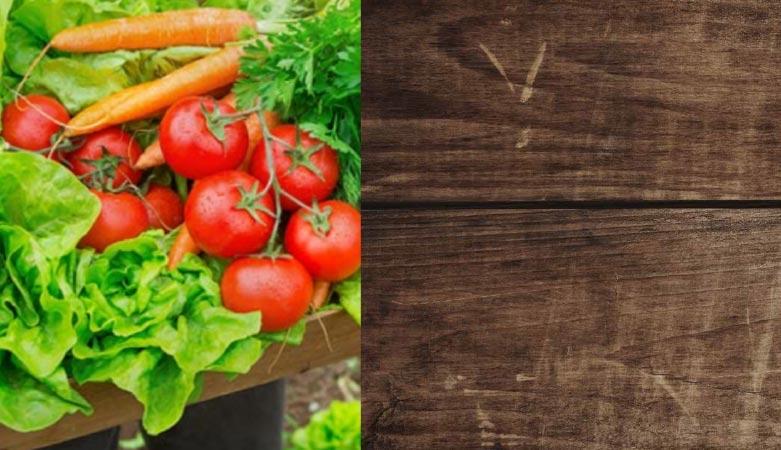 fresh produce, tomatoes, lettuce, carrots, wood table, local goodness logo