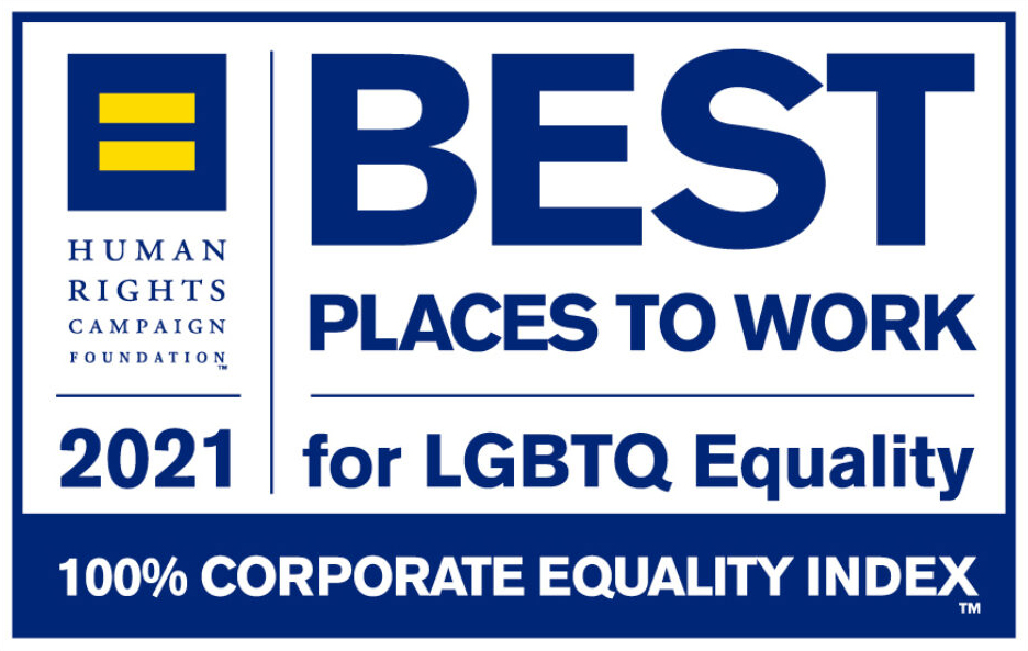Best Places to Work for LGBTQ Equality 2020, Human Rights Campaign, 100% Corporate equality index. logo