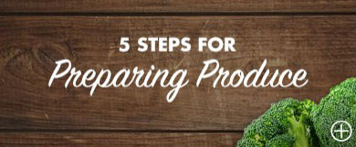 5 Steps for preparing produce, woodgrain background, broccoli florets