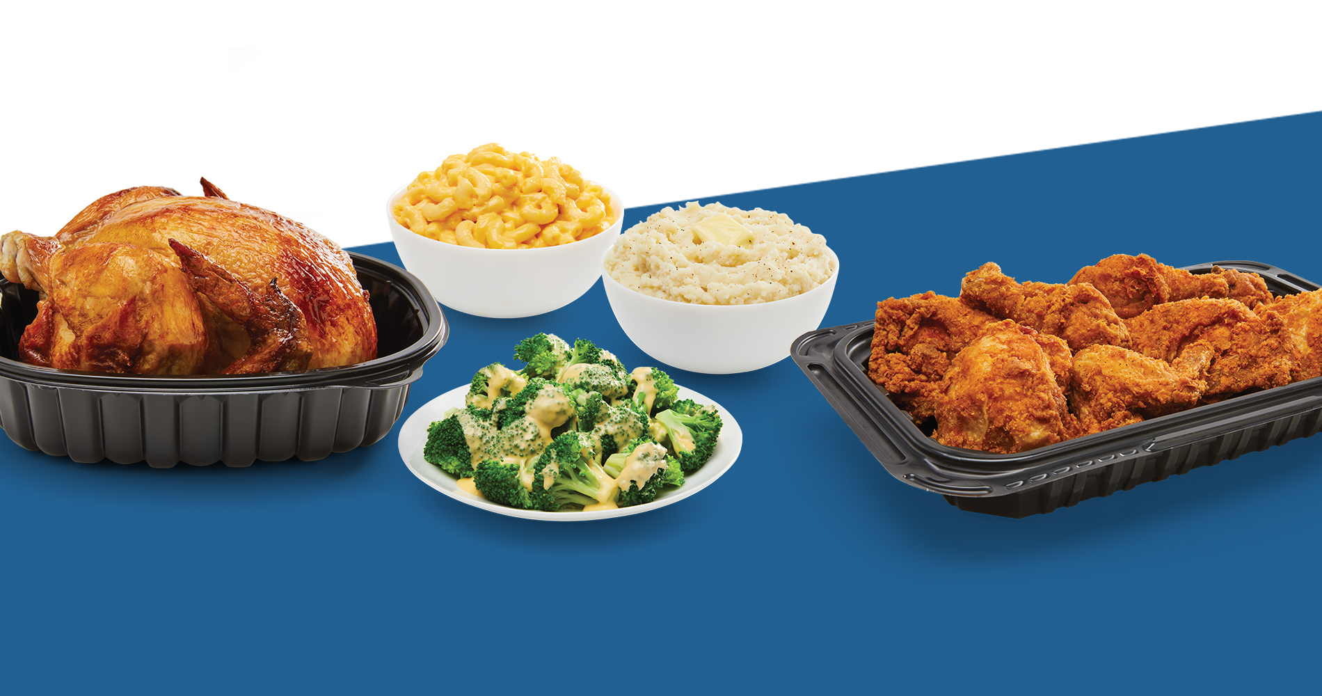 rotisserie chicken, mac and cheese, broccoli with cheese sauce, mashed potoatoes, 8-piece fried chicken