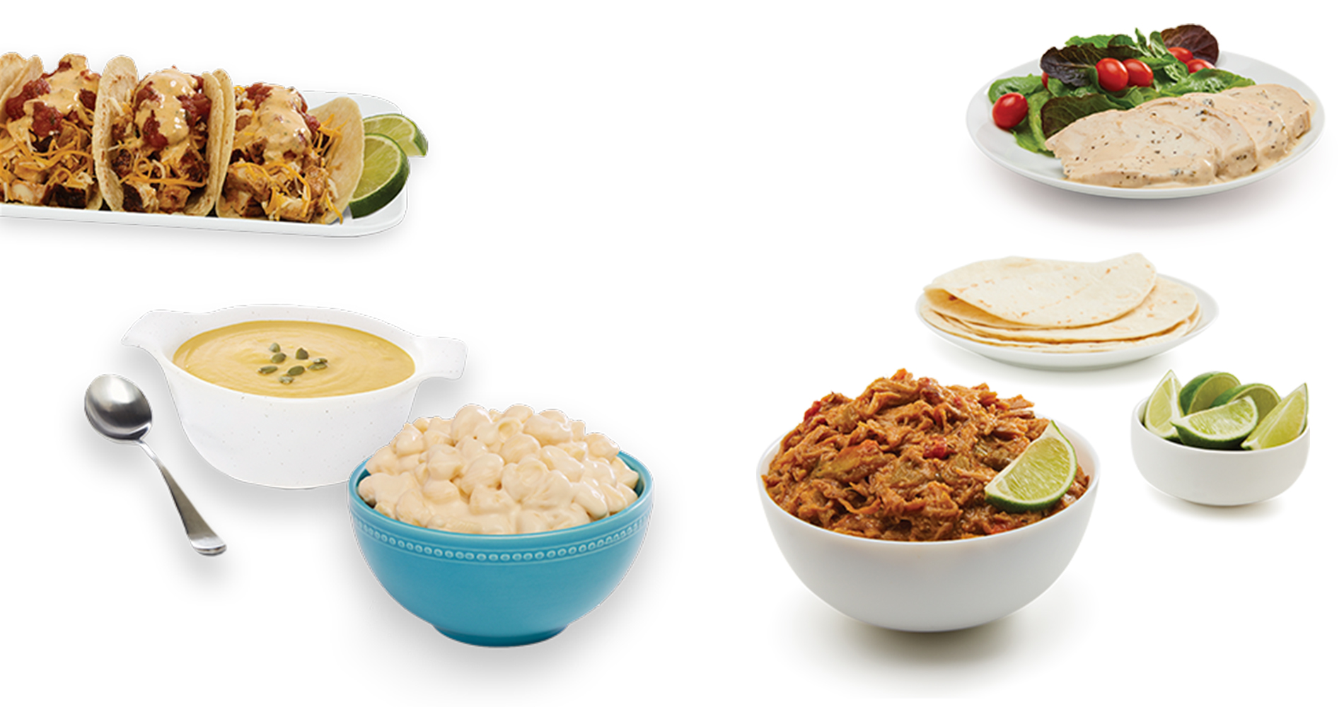 chicken tacos, deli soups, mac and cheese, and bbq pulled portk