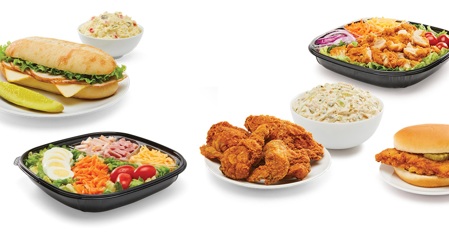 sub sandwich, deli salads, fresh salads, fried chicken, and chicken sandwich