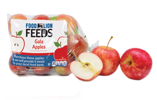 Food Lion Feeds Apple bag with whole and cut apples.