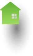 Green house icon on top of the world icon
