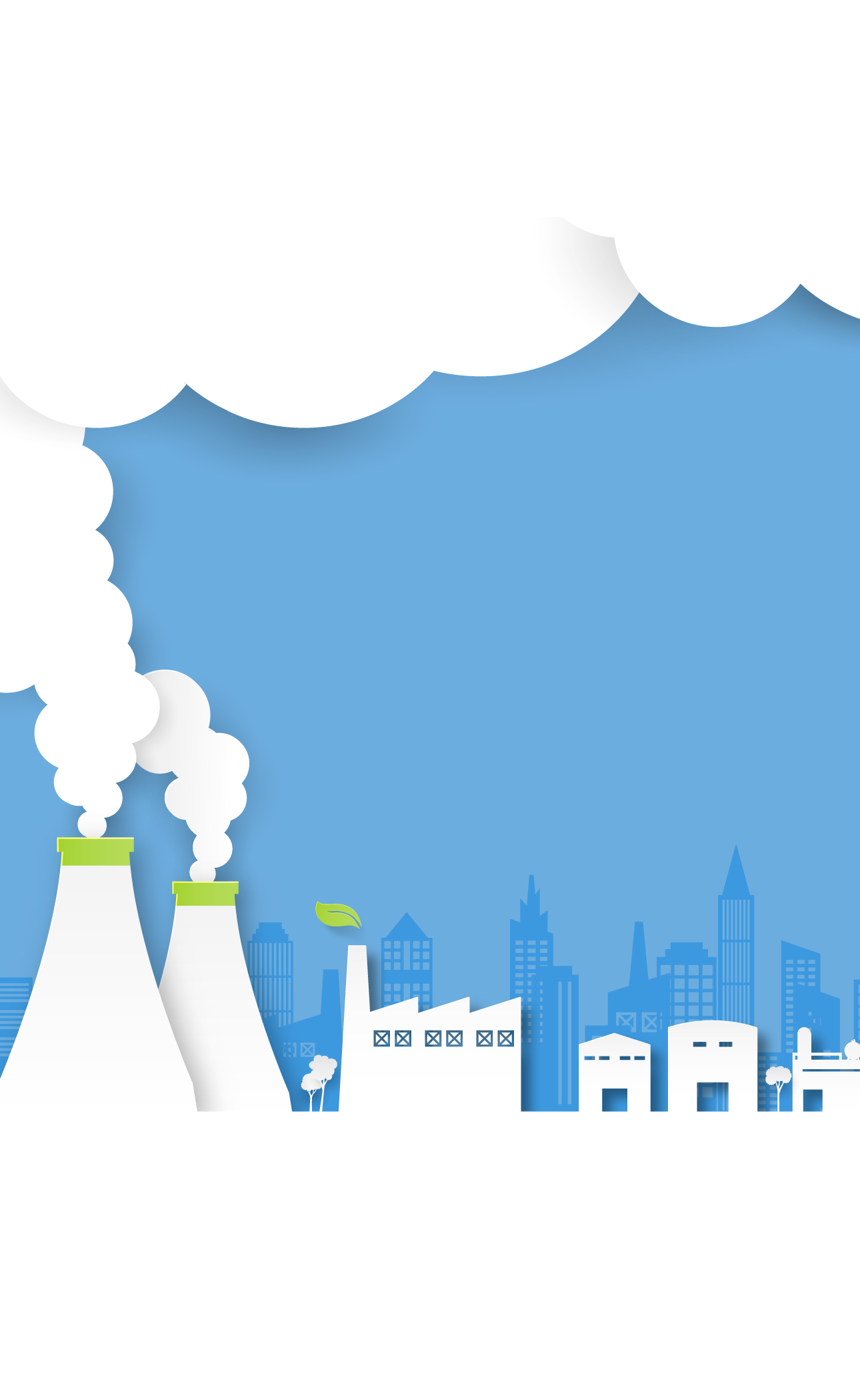 Background with clouds and factories
