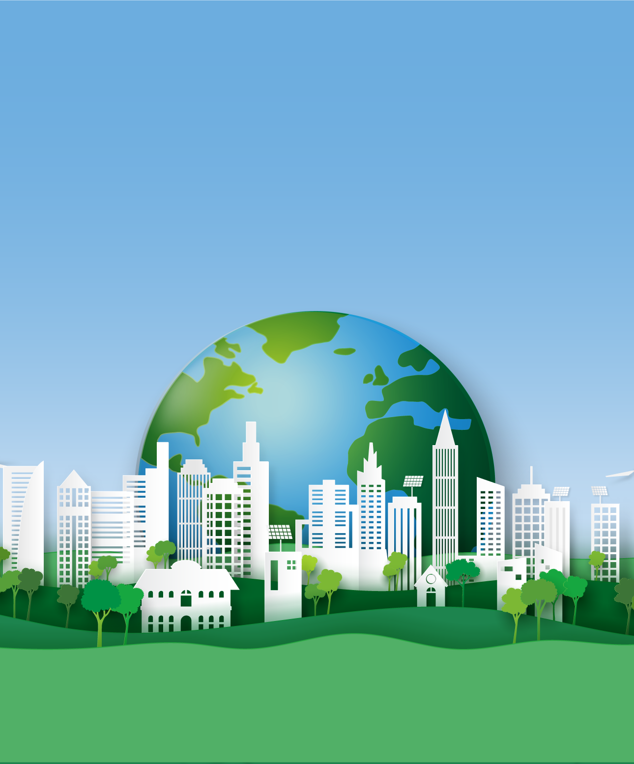 End section background with the earth and city and hills