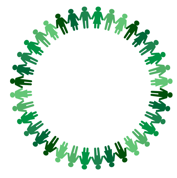 people holding hands around the world in a circle