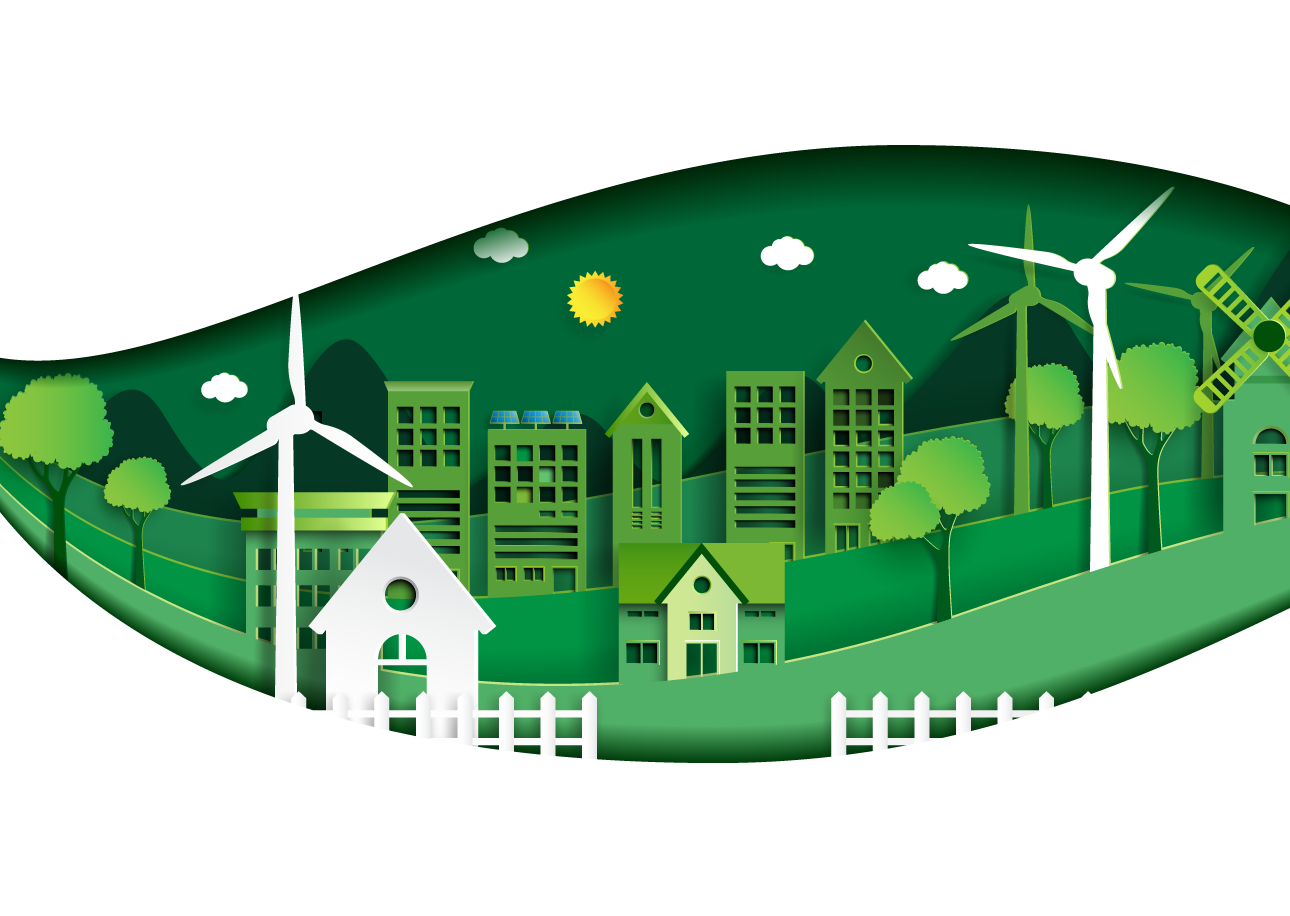 Transition layer with houses and windmills and trees