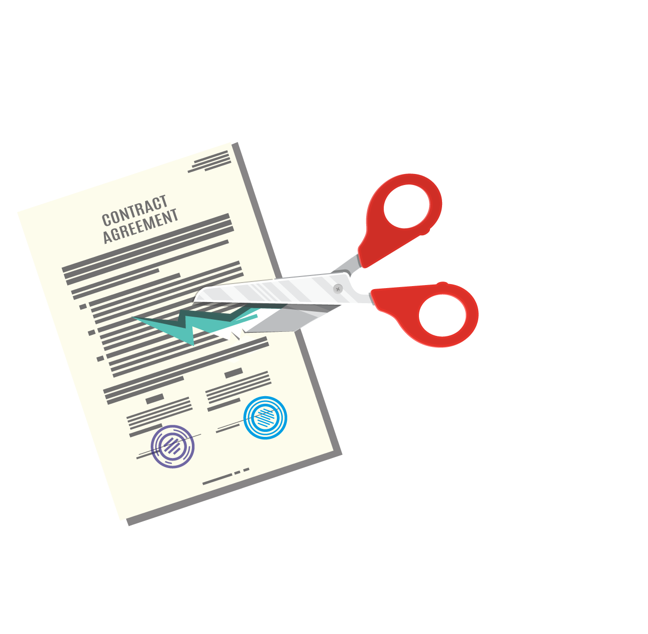Contract being cut by a scissors graphic