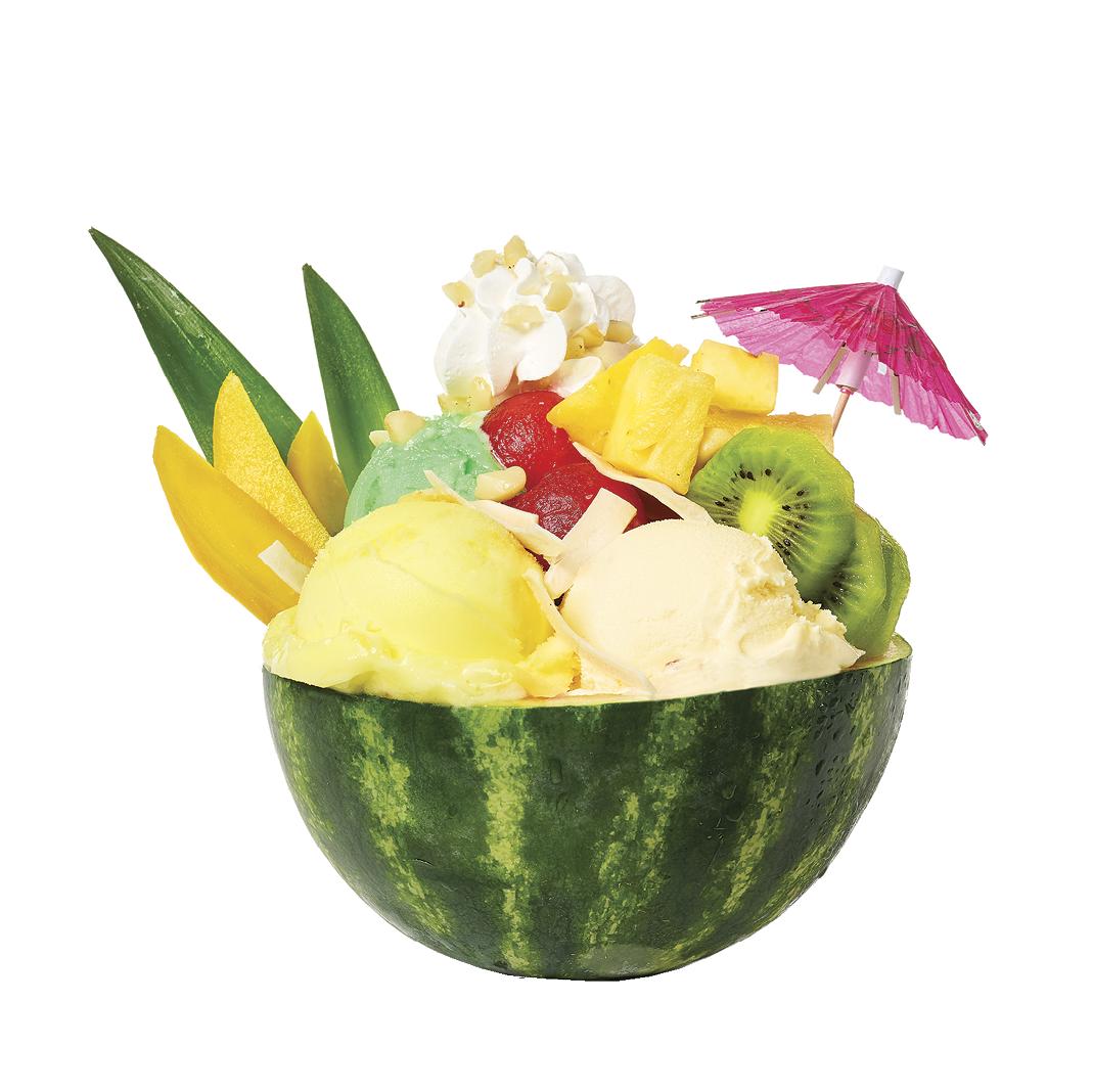Tropical Vacation Sundae in Mini Watermelon Bowl Loaded with Fruit and Mini Umbrella