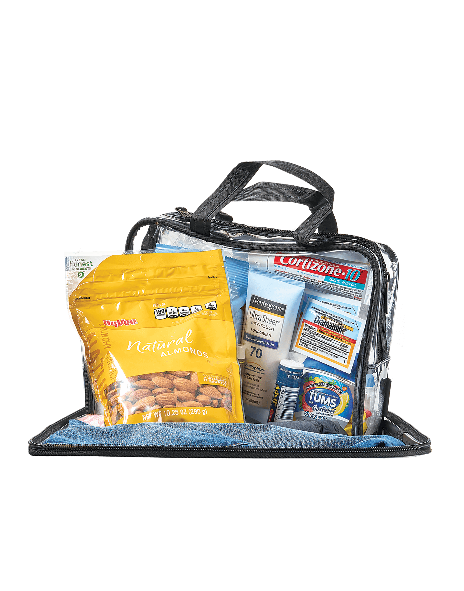 A collection of travel necessities in transparent bags.