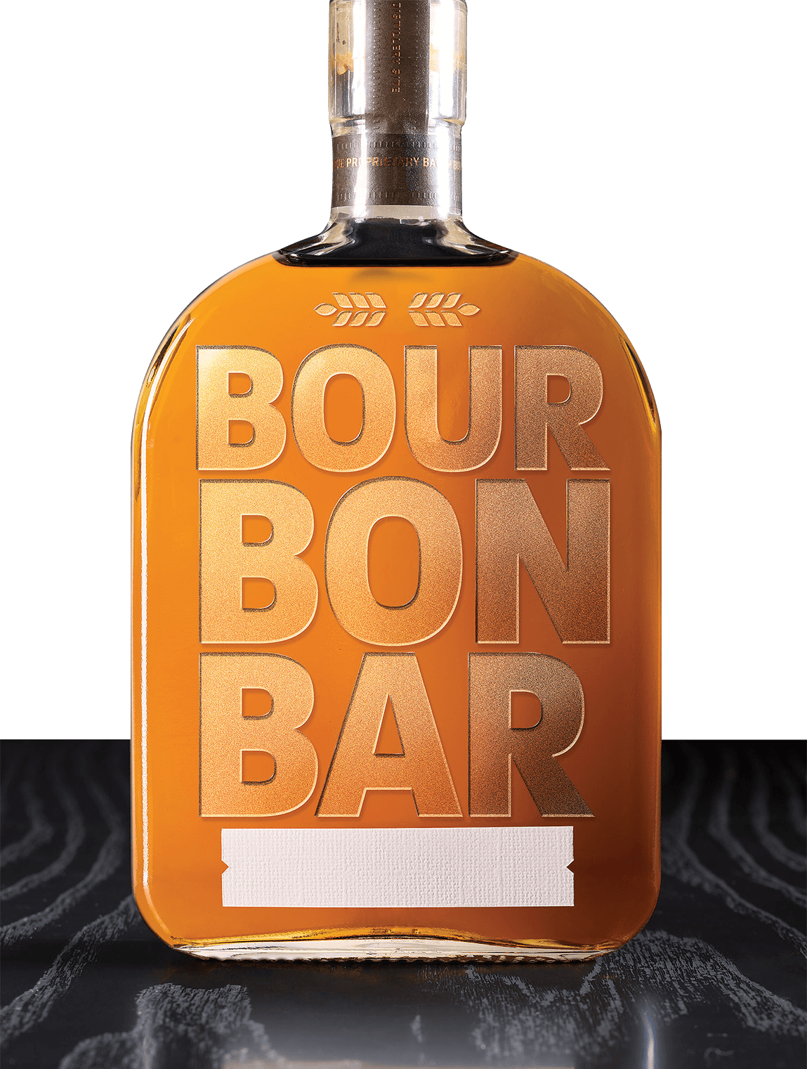 A bottle of burbon with the words