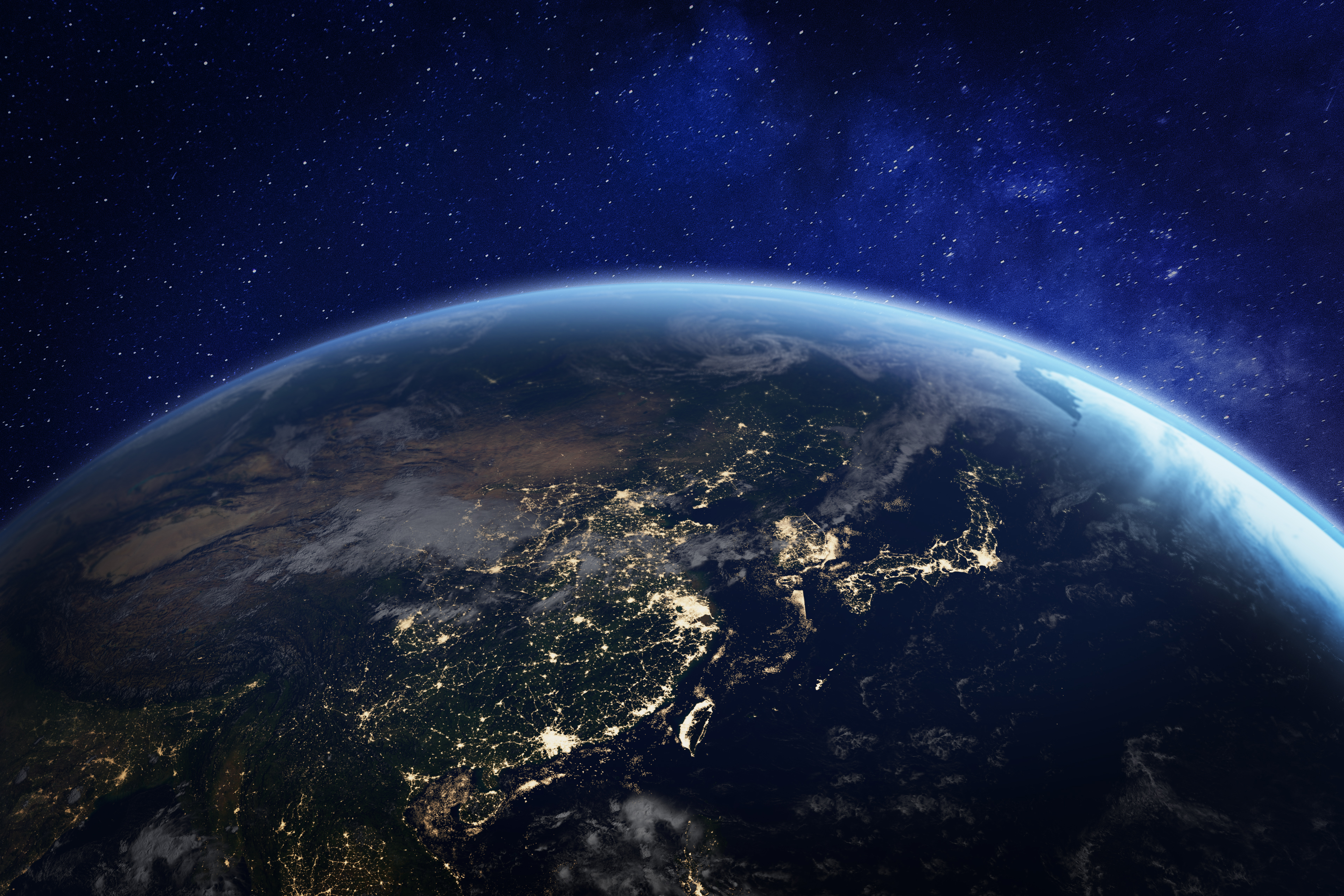 Asia at night from space with city lights showing human activity in China, Japan, South Korea, Taiwan and other countries, 3d rendering of planet Earth, elements from NASA (https://eoimages.gsfc.nasa.gov/images/imagerecords/57000/57752/land_shallow_topo_2048.jpg)