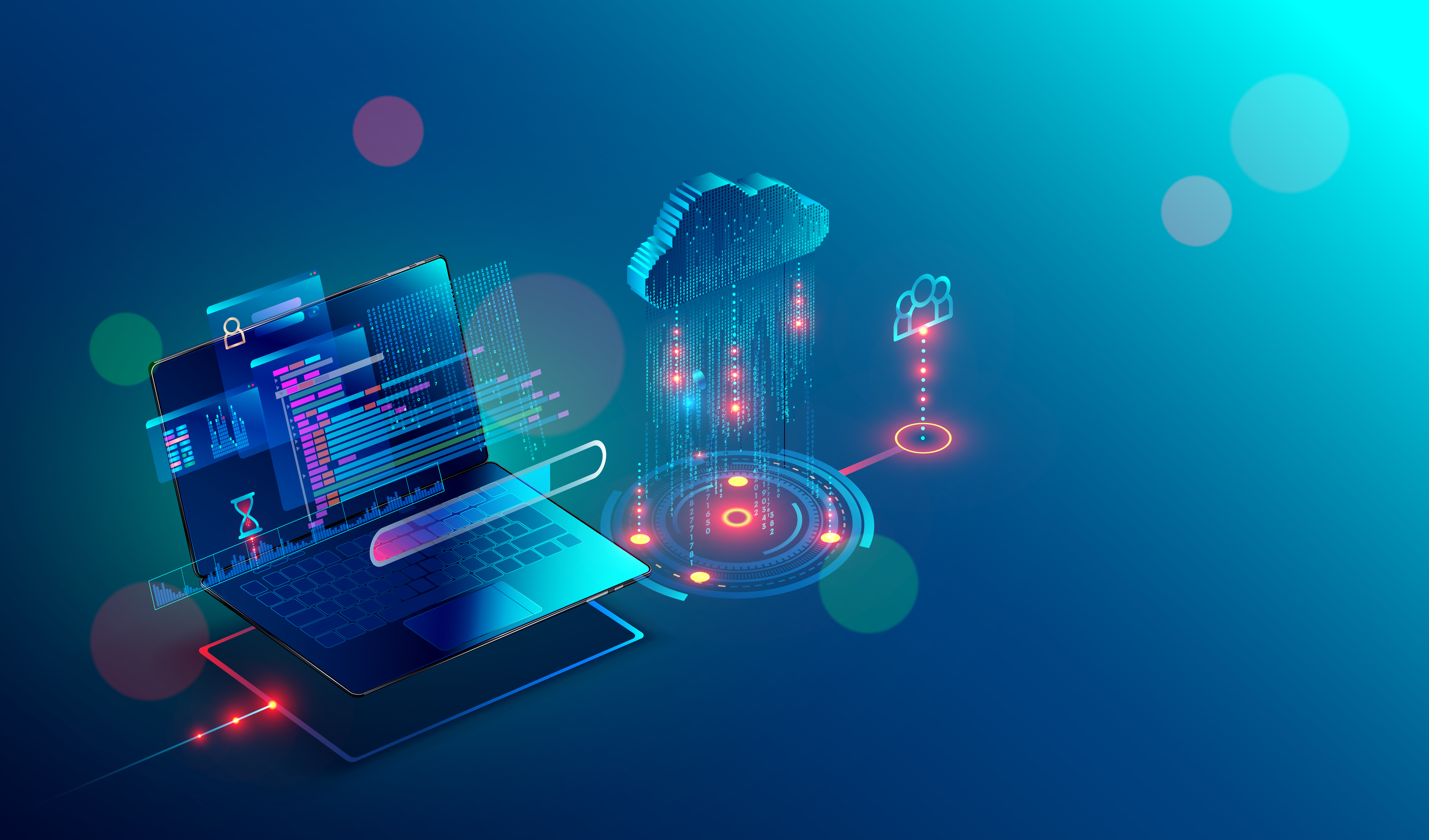 laptop connection on cloud storage for collaboration work with remote team. Cooperation work via internet and work with project in shared access. Isometric infographic concept.