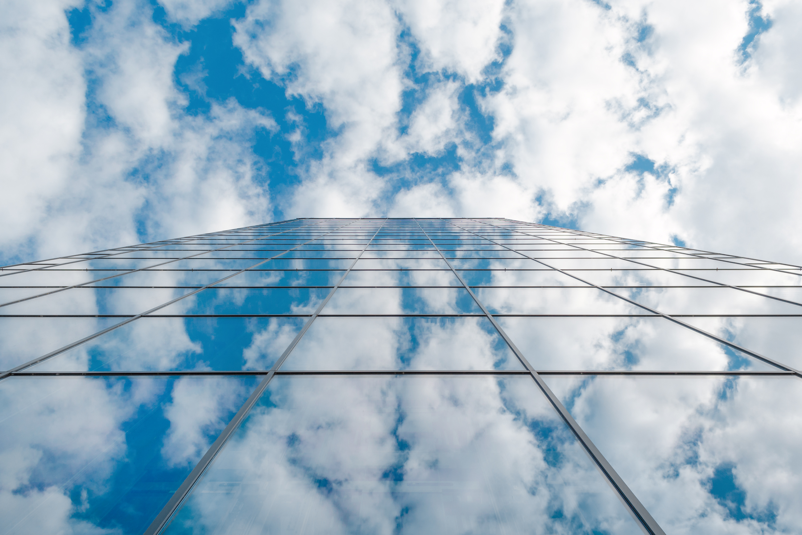 modern business high rise building and blue sky with clouds, Dusseldorf, Germany