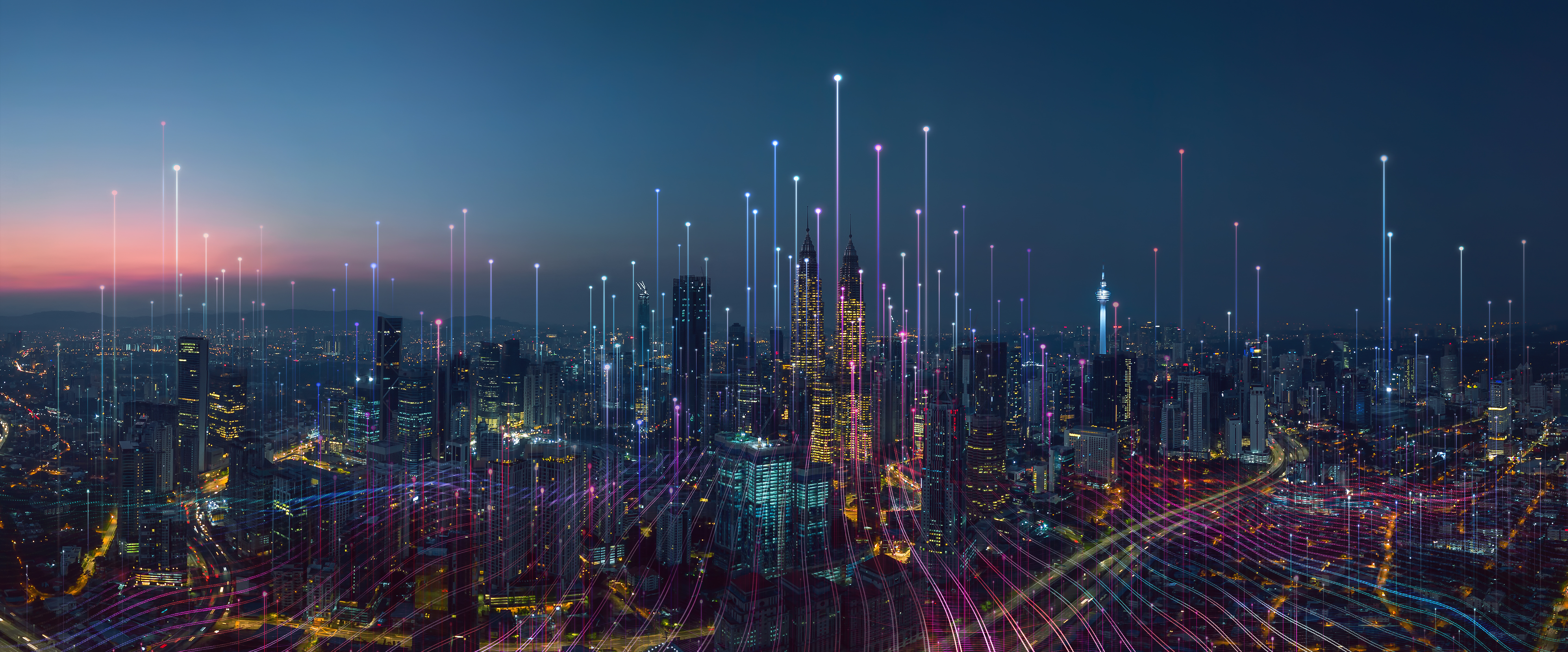 Smart city and abstract dot point connect with gradient line and aesthetic Intricate wave line design , big data connection technology concept .