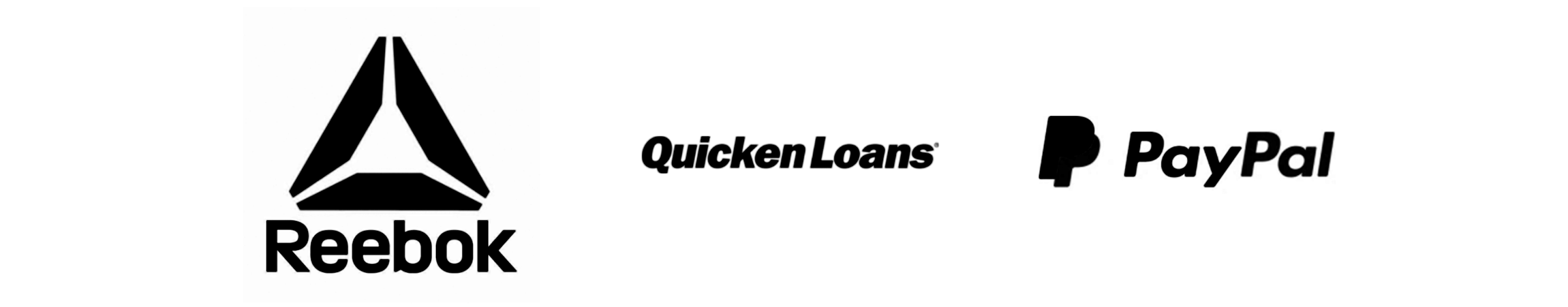 Reebok, Quicken Loans and PayPal logos