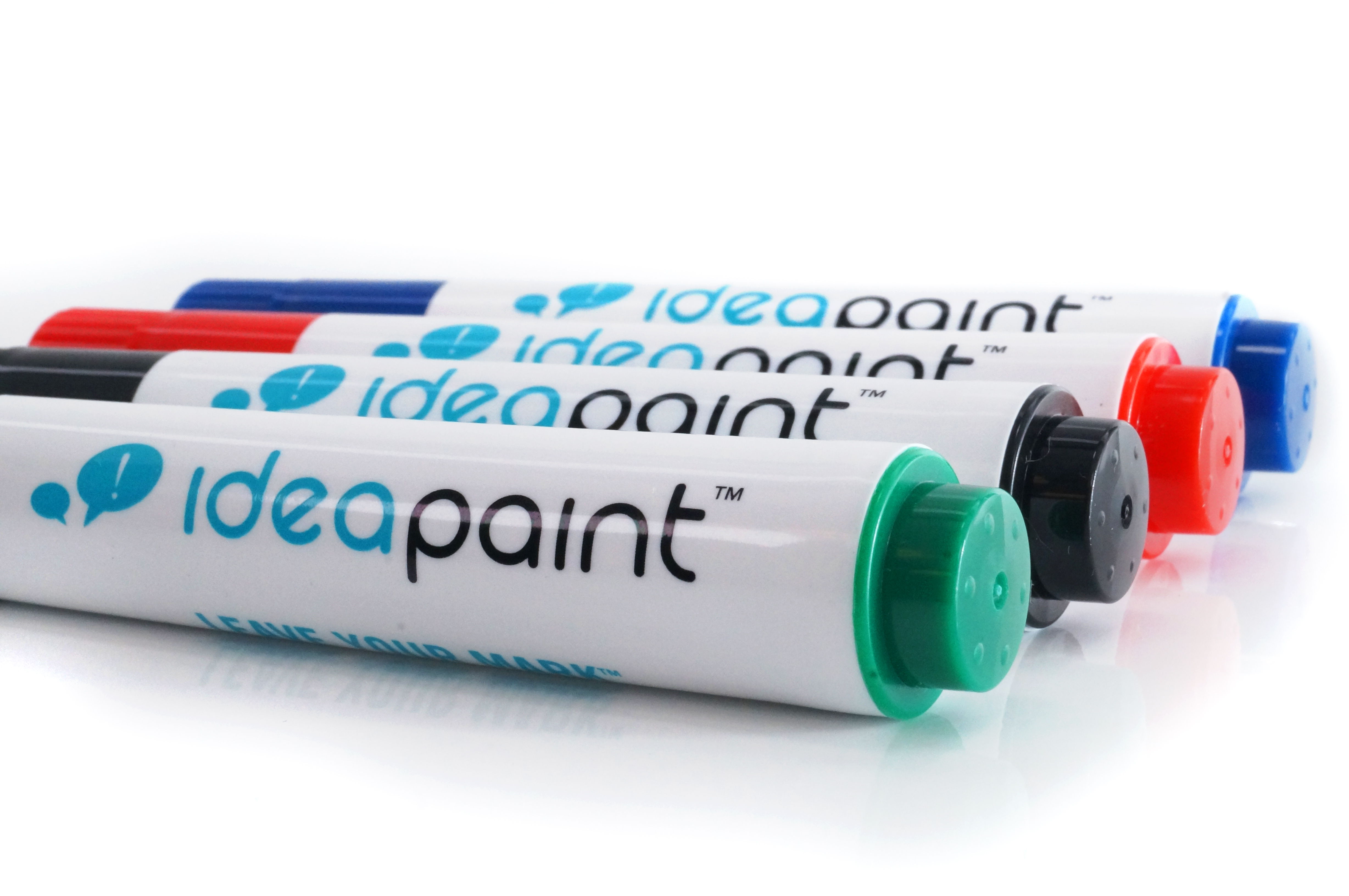 IdeaPaint markers including green, red, black and blue