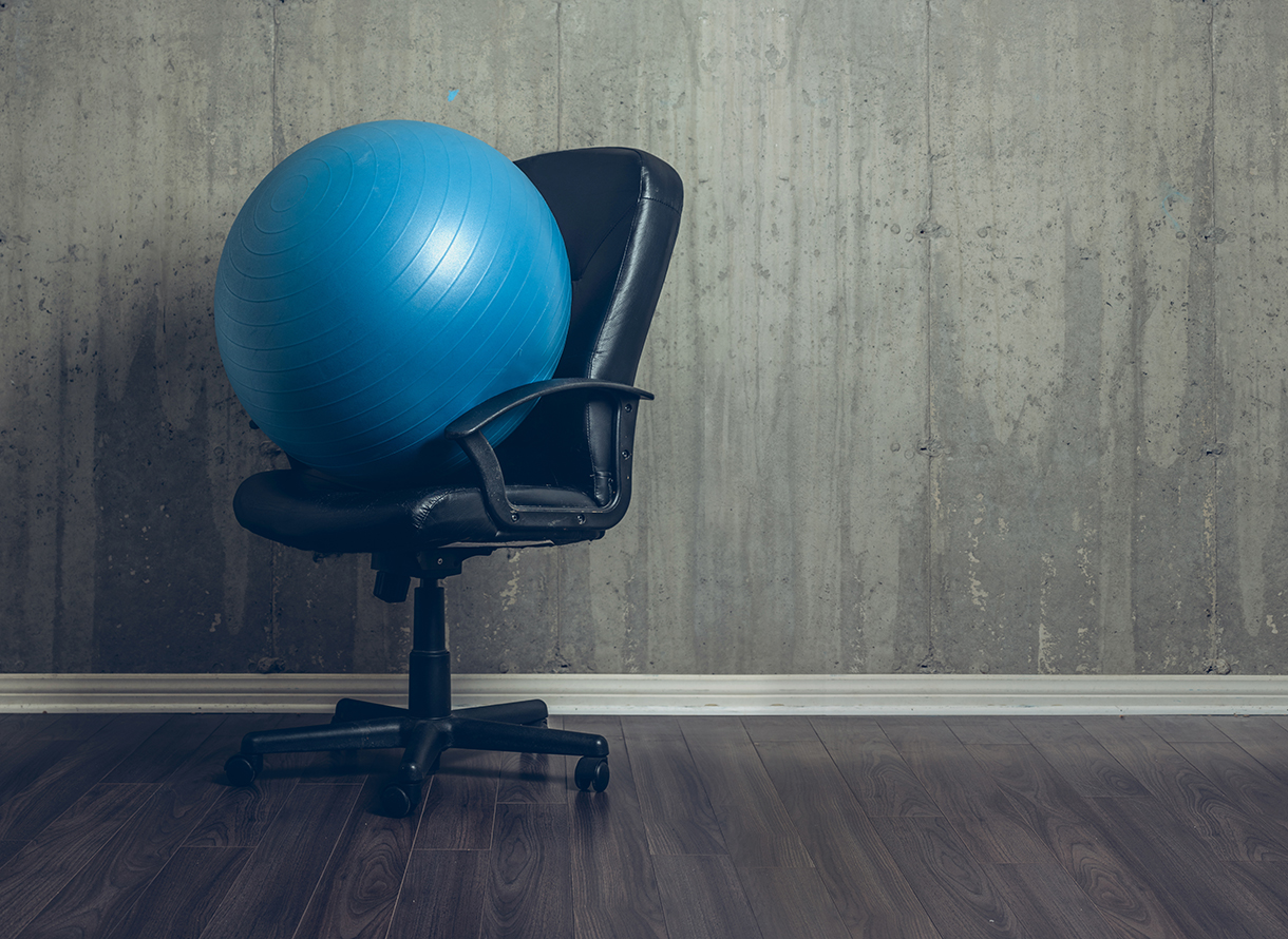 Exercise ball on an office chair