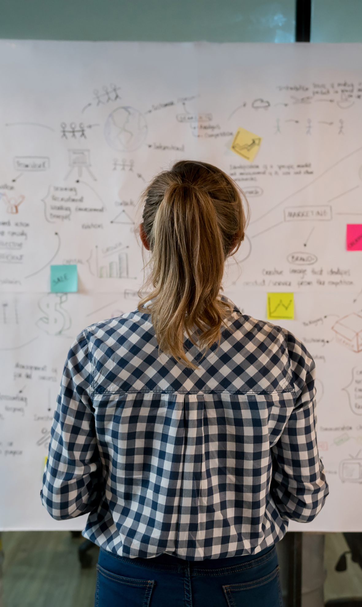 Woman stood looking at whiteboard containing strategies