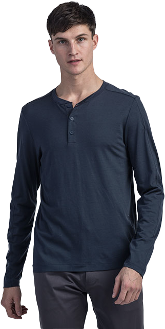 man wearing a rhone long-sleeve henley