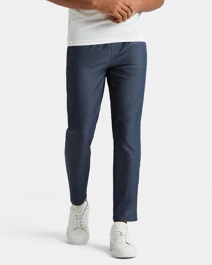 on-model photo of blue rhone guru pants