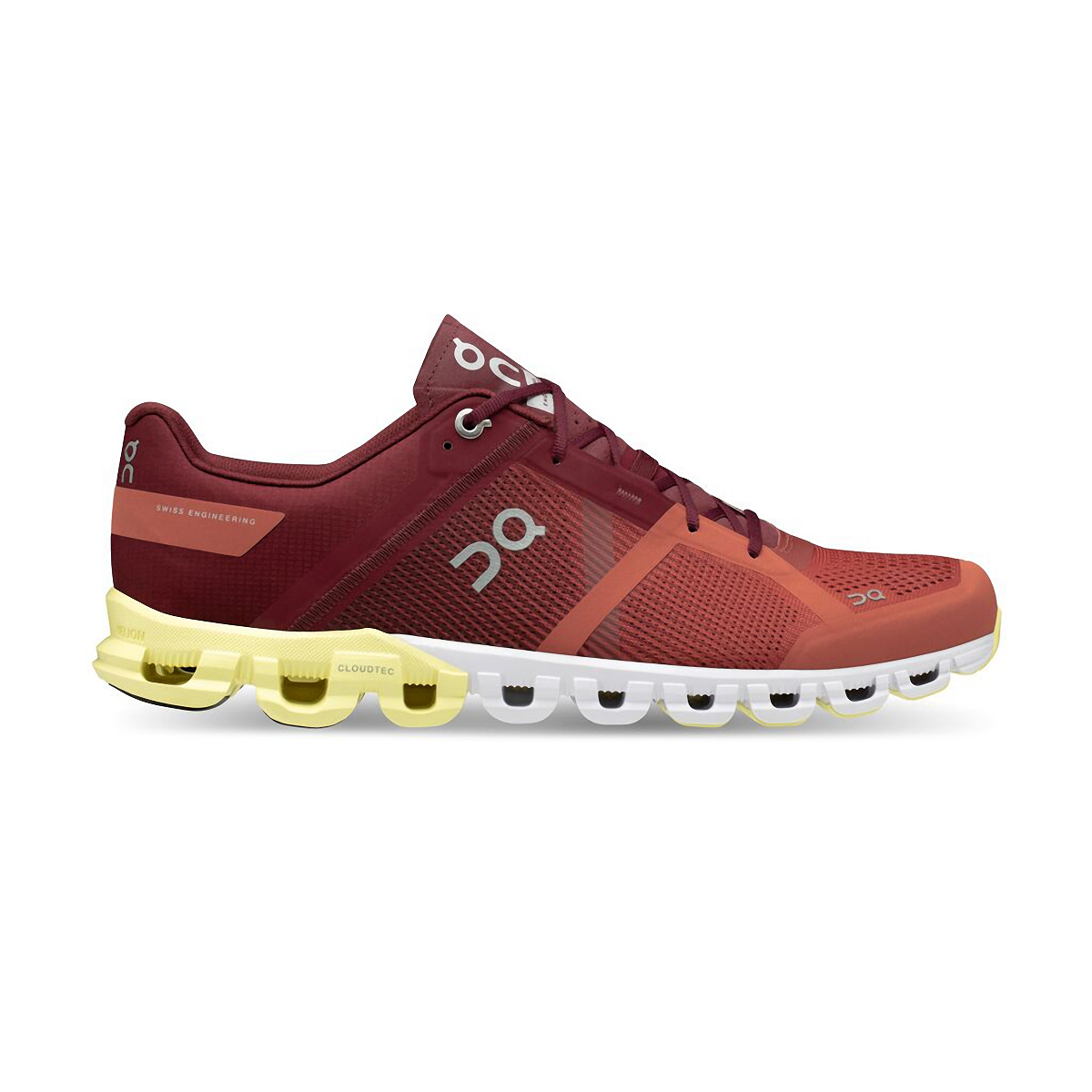 picture of the on cloudflow 2.0 in orange, burgundy, yellow and white