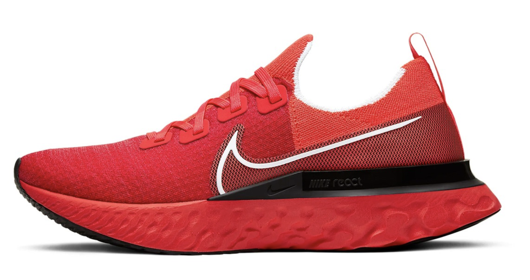 red nike infinity run react flyknit sneaker