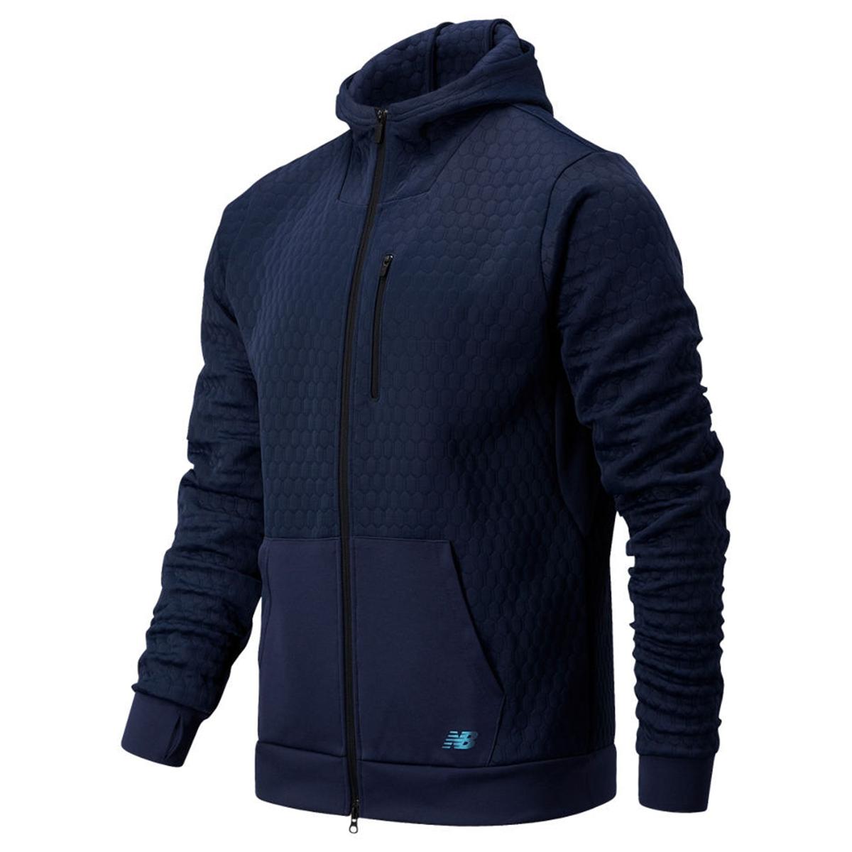 photo of the new balance heatloft full zip jacket in navy blue