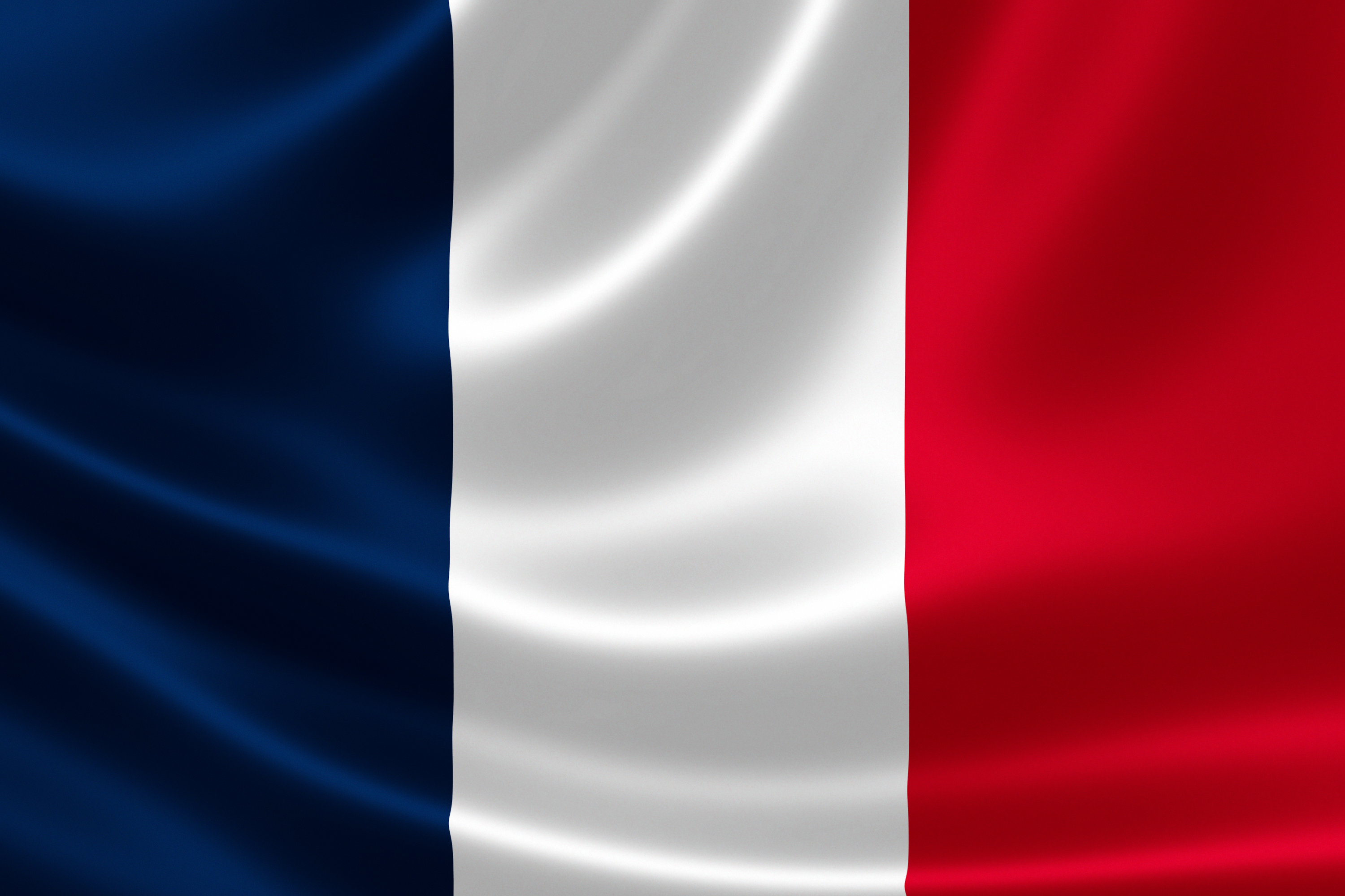 3D rendition of the flag of France on silky fabric.