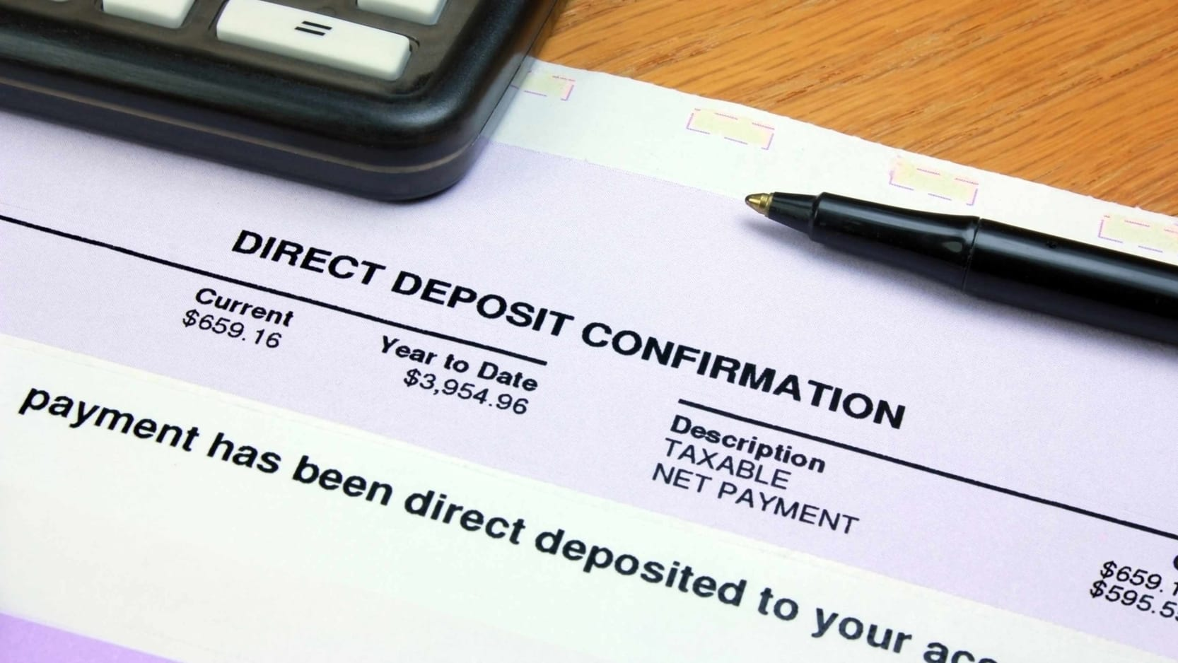 A pay stub showing direct deposit information.