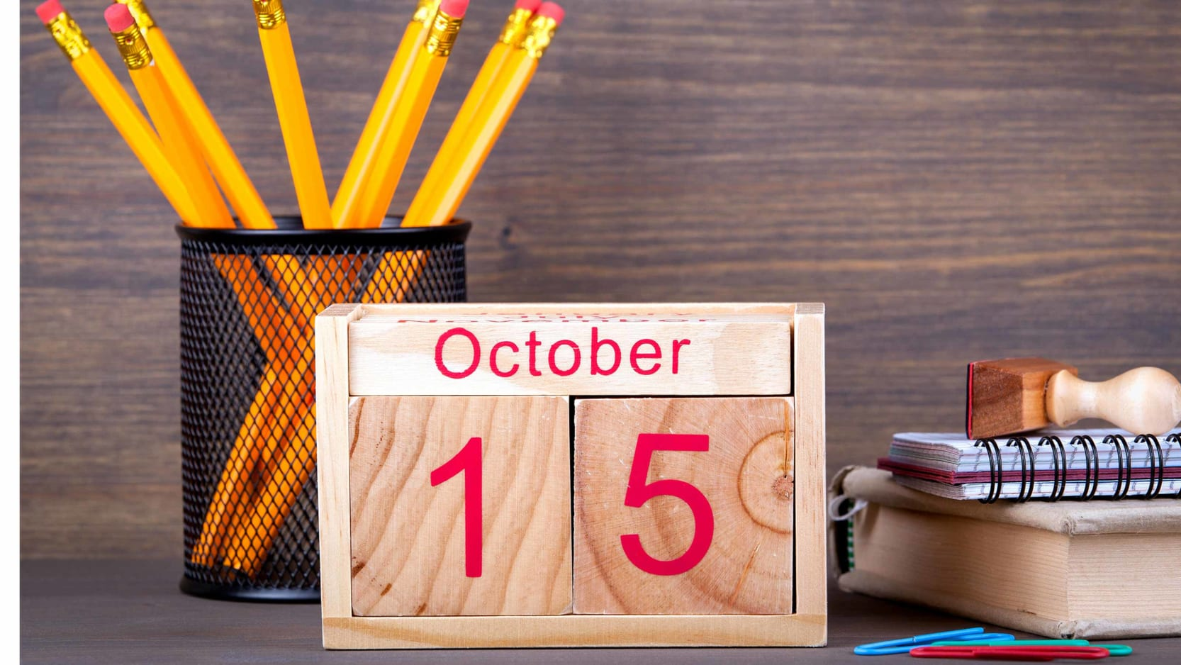 A desk calendar displaying October 15.