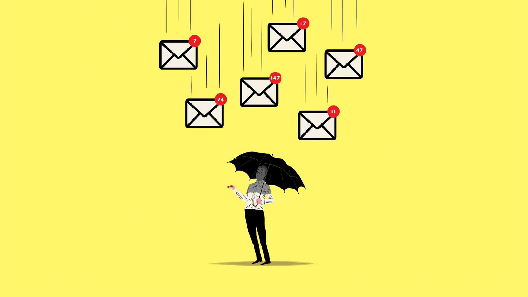 illustration of debt mail falling on gentelman with umbrella
