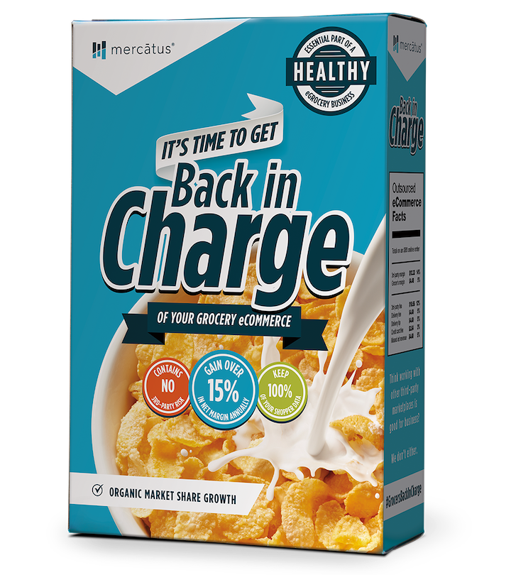 A Back in Charge Mercatus private-label cereal box.