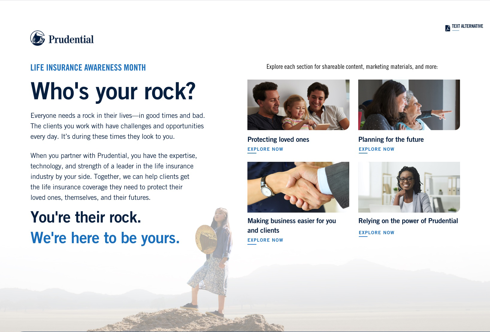 Thumbnail preview of the 'Life Insurance Awareness Month—Who's Your Rock?' website.