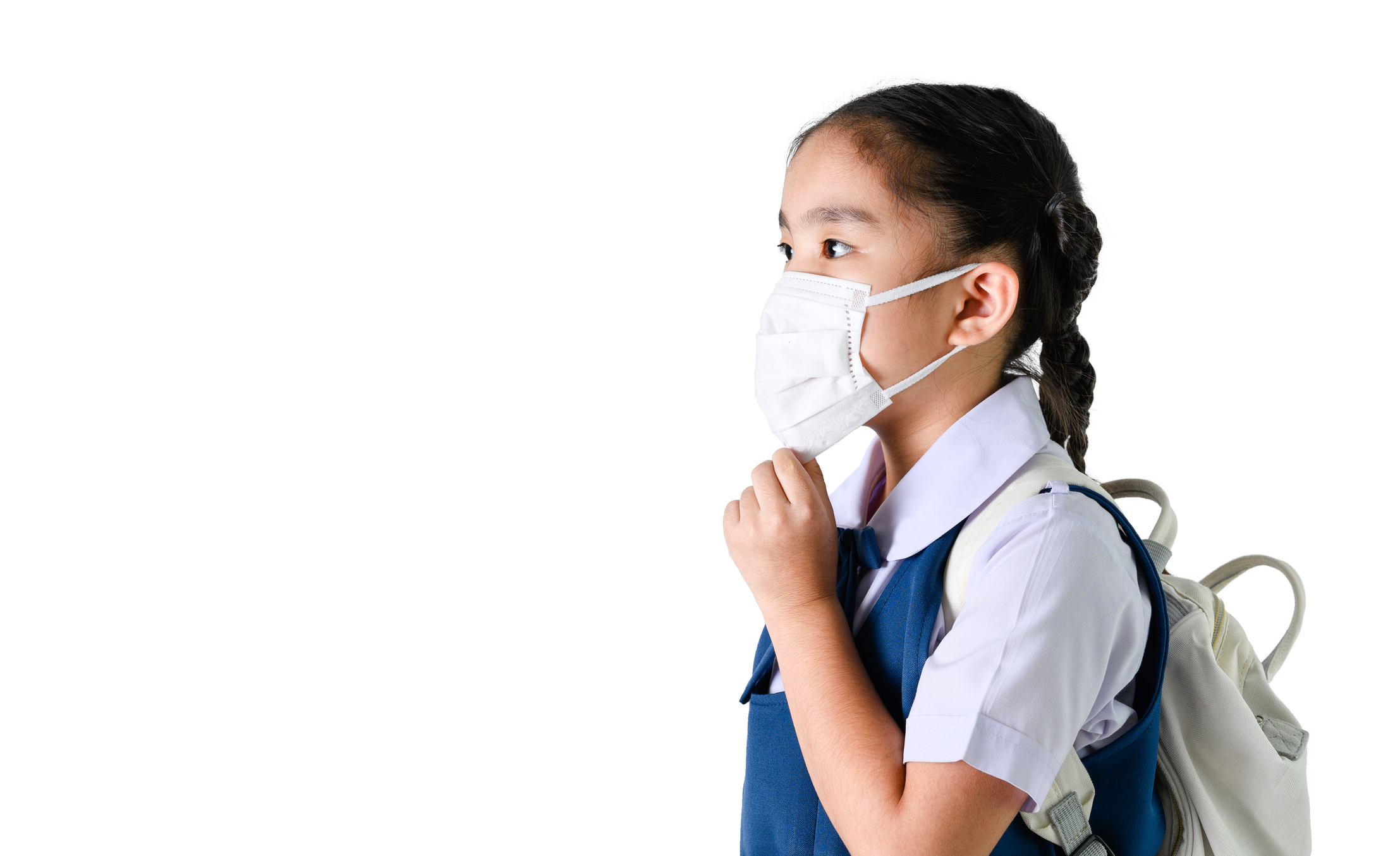 young student wearing a face mask