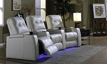 Three leather reclining theatre chairs from Bracko Brothers