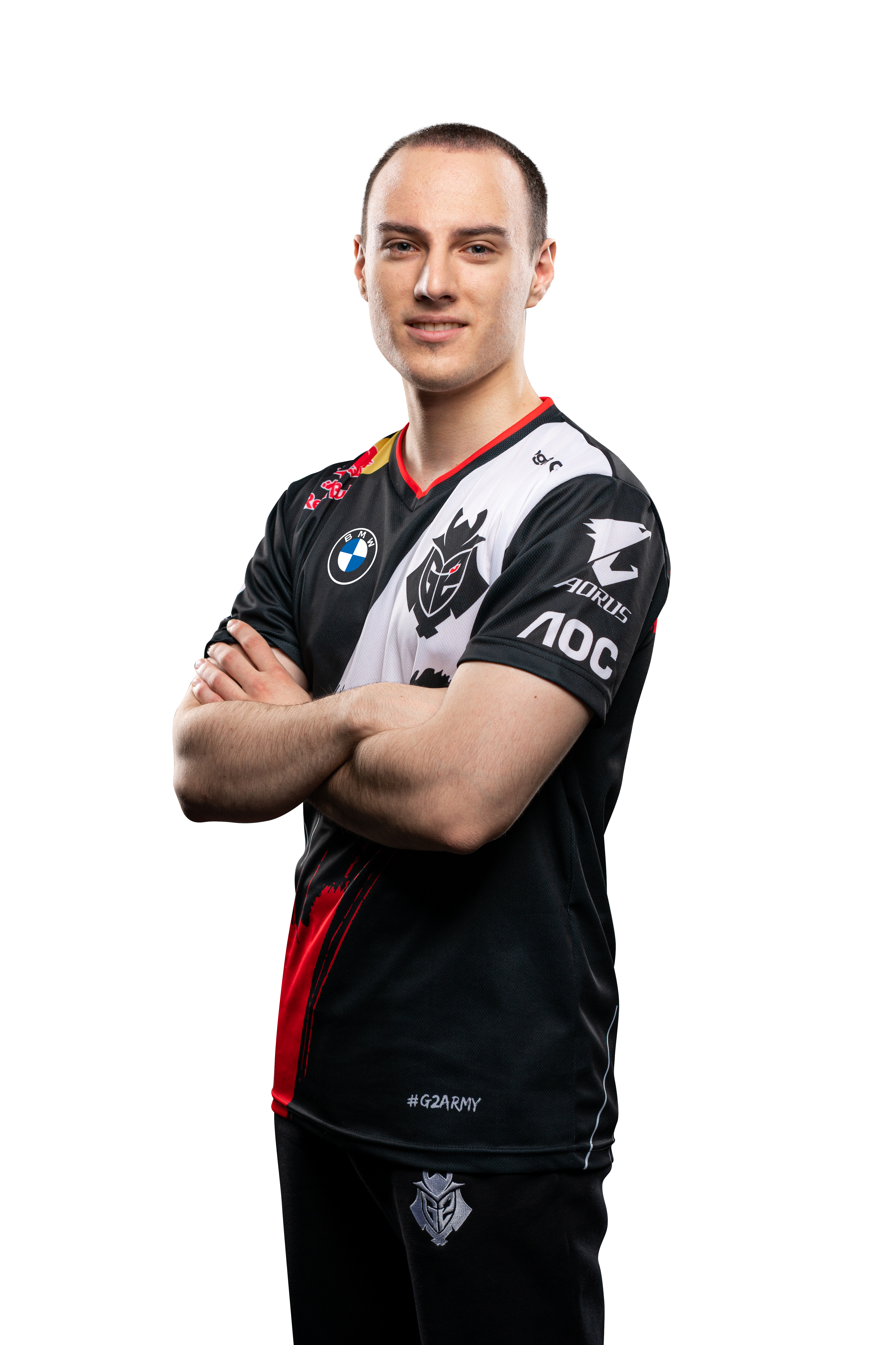 G2 Esports star Perkz poses with his arms crossed