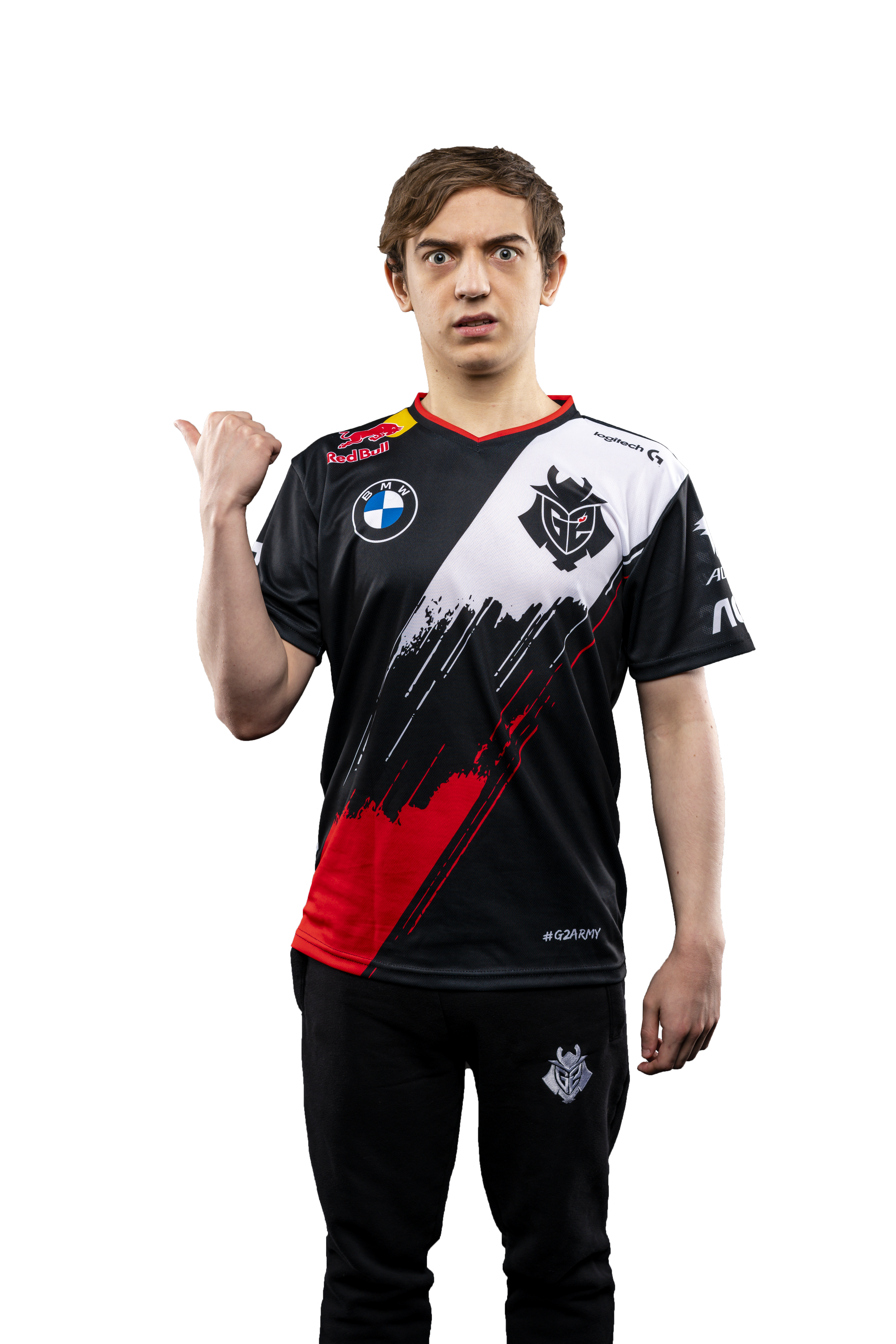 G2 Esports star Caps gestures with his thumb in surprise to an amazing fact about himself