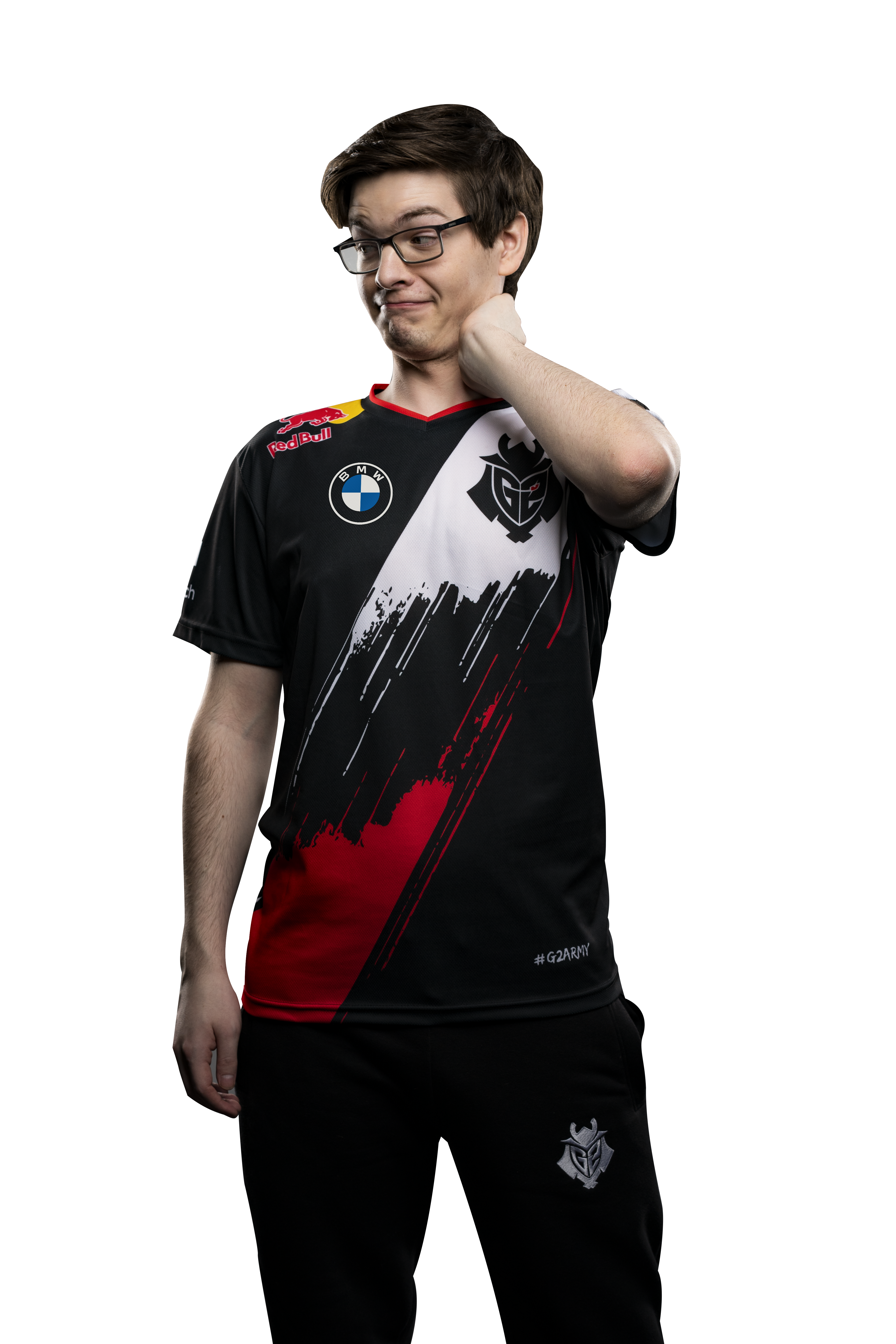 G2 Esports star Mikyx puts his arm on his neck, looking embarrassed