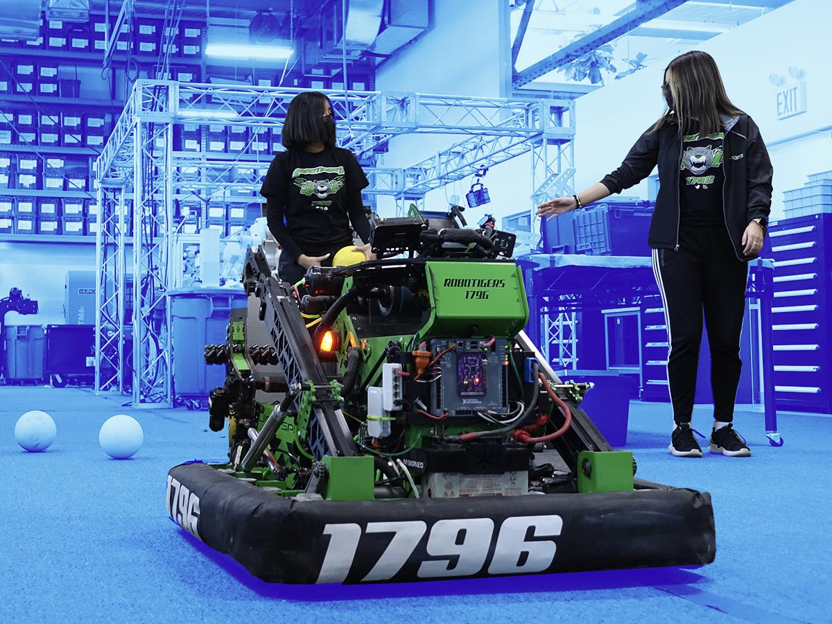 The RoboTigers, a FIRST team, building their robot.