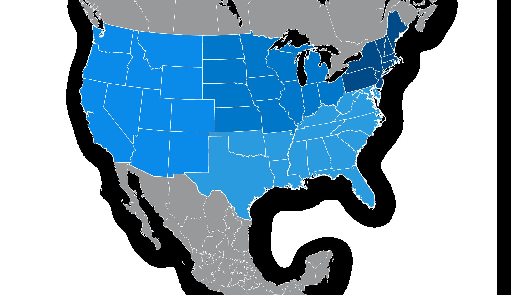 Map of the USA split into 4 regional zones
